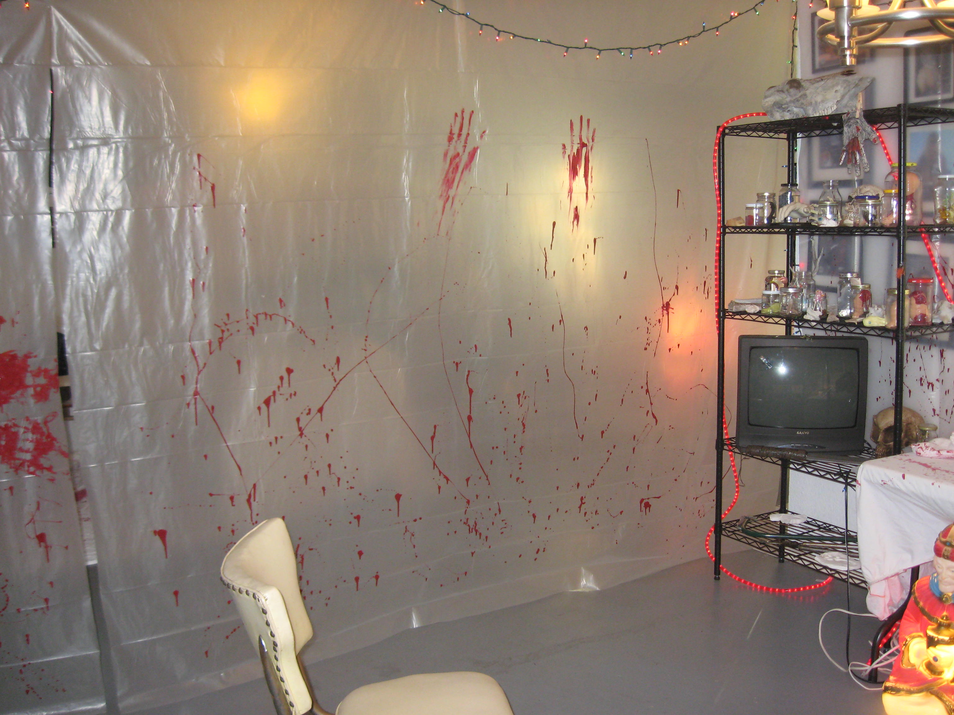 Hanging creepy blood stained plastic sheeting would give the ...